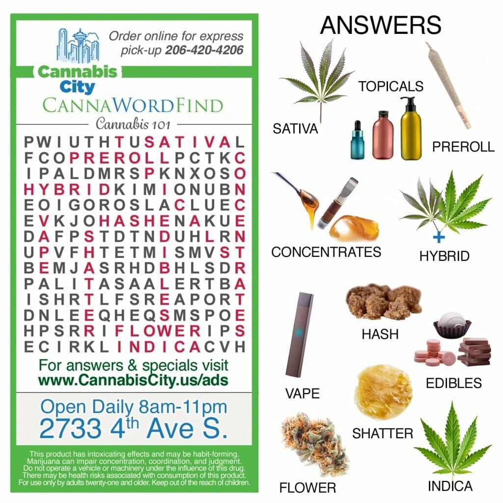 Cannabis city, cannabis games, crosswords, wordfind, cannabis facts, cannabis knowledge